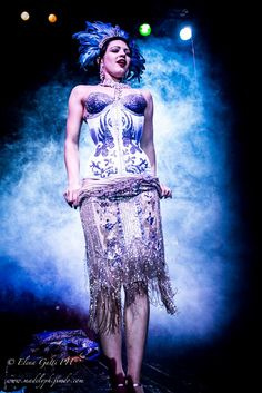 Bonnie Fox stripteasing! Burlesque corset by Hironia with Swarovski crystals. Feather headdress by Batcakes. Beaded fringe flapper gown dress. 1920s twenties art deco burlesque showgirl glitter costume. Bonnie Fox (aka Sharon Davis) via sharonmdavis.com
