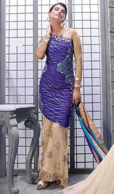 Let your onlooker obtain infinite inspiration and grace with you dolled up in this purple and beige color embroidered silk net palazzo suit. The brilliant attire creates a dramatic canvas with astounding lace, stones and resham work. Palazzo Dress, Palazzo Suit, Pakistani Suits, Anarkali Suits, Stylish Dresses, Formal Dresses, Ethnic Suit, Embroidered Silk, Beige Color