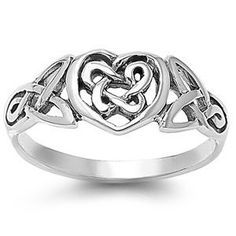 Celtic Heart Ring - 925 Sterling Silver