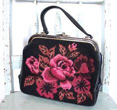 Vintage 1940's Purse // 40s 50s Pink Rose by TrueValueVintage