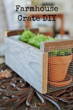 Farmhouse Crate Inspired by Magnolia Market: Get the farmhouse fresh look of Fixer Upper with this farmhouse crate DIY tutorial. It's easy and on the cheap! www.huntandhost.net