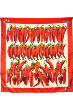 DOLCE & GABBANA  Pepper-print silk-satin scarf.  I LOVE SPICY HOT PEPPERS!