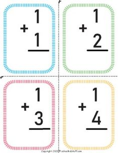Simple Addition, Math Addition, Addition And Subtraction, Kids Math Worksheets, Printable Worksheets, Addition Flashcards, Basic Math, Math For Kids, Teacher Newsletter