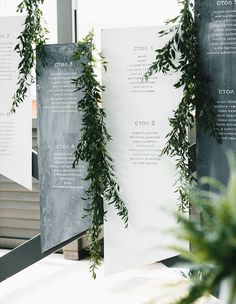 modern sheet greenery seating chart