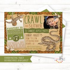 Reptile Birthday Party Invitation By PaperFoxStudios Invitations Kids 4th