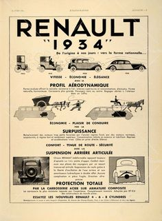 This is an original 1934 black and white French print ad for the 1934 Renault automobile. This is an excellent original print item for the collector of this vintage car!