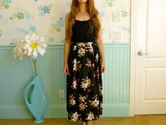 1990's Deep Black and Floral Free flowing skirt // by LexAndLos, $21.00