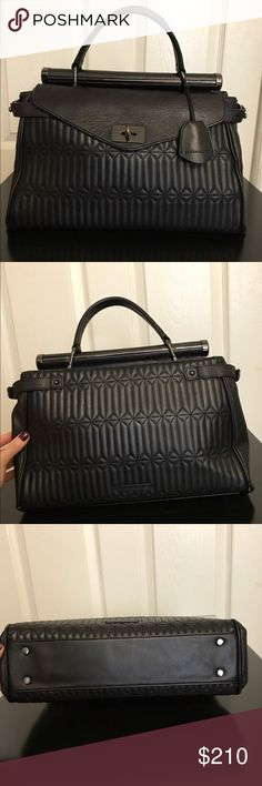 Bcbgmaxazria satchel leather bag Gently used in a good condition 100% cow leather bag, elegant texture give this bag a luxe look that works wonders from office to evening! Geometric lines textured satchel with top handle. Metallic bar hardware at top, flap closure! Long strap included BCBGMaxAzria Bags Satchels