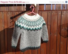 ON SALE Icelandic sweater children sweater toddler by Klettur