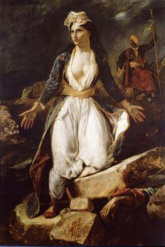 Eugène Delacroix, Greece on the Ruins of Missolonghi, 1826, Oil on canvas, 209 x 147 cm, Musée des Beaux-Arts de Bordeaux