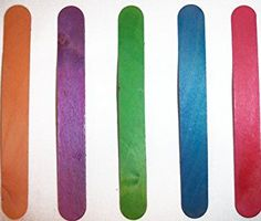 """Durable, Strong & Non-Toxic {6"""" x .75"""" Inch} 100 Bulk Count of Jumbo & Thick Multi-Purpose Craft Sticks for DIY, Food, Beauty & More, Made of Baltic Birch Wood w/ Rainbow Stained Style {Multicolor}"""