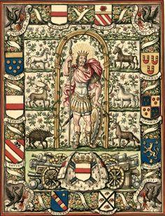 Armes et devise de Maximilien de Béthune, duc de Sully, maréchal de France, †1641. Dessin d'une suite de trois tapisseries (1/3 Mars, Gaignières 1760). -- «Armes de Maximilien de Bethune Duc de Sully Pair G[ran]d M[aitr]e de l'Artillerie et Ma[rech]al de France avec une Devise et les Armes de ses Alliances». -- Armes de Béthune, et dans la bordure : Hornes, Courtenai, Luillier, Raguier, Briçonnet, Dauvet, Béthune, Melun, Béthune et Junenel des Ursins.