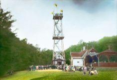 Die Kaiser-Jubiläums-Warte in Ottakring. Handkoloriertes Glasdiapositiv. Um 1910