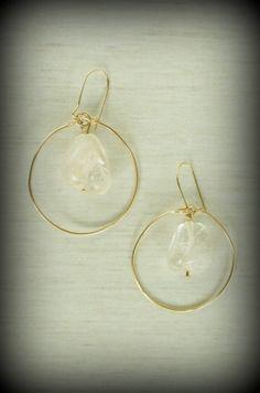 Gold Hoop Quartz Earrings by MLKANHNY on Etsy, $26.00