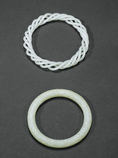 JP: TWO WHITE JADE BRACELETS, CHINA, QING DYNASTY