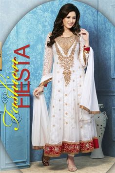 White Net Designer Anarkali Suit
