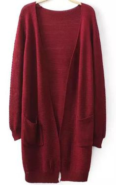 Wine Red Long Sleeve Pockets Loose Knit Cardigan pictures