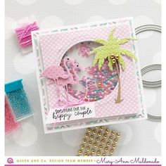 Queen & Co Shaped Shaker Kits allow you to make fun shaker shapes which can be used on handmade cards or scrapbook layouts. These kits include dies and foam shaker accents. These kits do not include toppings. Wedding Anniversary Cards, Wedding Cards, Mason Jar Cards, Karten Diy, Slider Cards, Freebies, Cards For Friends, Friend Cards, Circle Shape