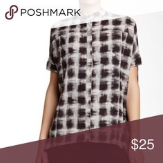 NWOT Ro + De short sleeve plaid blouse More soon, blackish brown and grey and white Ro & De Tops Blouses