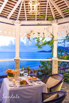 Private Candlelight dinner in the romantic gazebo at Sandals Halcyon Beach St. Lucian Spa & Resort