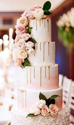 Pink Wedding Cakes - [tps_header] Having a gorgeous and sweet treat to celebrate your wedding day is one of those quintessential things that most brides and grooms are excited about. Check out our best wedding cake ideas to get inspiratio. Elegant Wedding Cakes, Beautiful Wedding Cakes, Wedding Cake Designs, Beautiful Cakes, Perfect Wedding, Trendy Wedding, Rustic Wedding, Floral Wedding Cakes, Wedding Cake Vintage