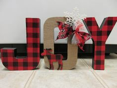 Rustic Buffalo Plaid and Burlap Paper Mache Christmas Joy Letters-Christmas Decor-Christmas Shelf Sitter by SusansCraftyCorner on Etsy https://www.etsy.com/listing/491536493/rustic-buffalo-plaid-and-burlap-paper