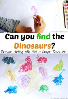 Go on a dinosaur hunt with water Paint & Crayon Resist Art! Great fun! #playfulpreschool