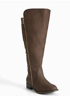"""<div><div>We're calling it quilts! The chic stitch lends instant sophistication to these sumptuous chocolate brown faux leather knee-high boots. The gold tone zipper is a final flashy touch.</div></div><div><br></div><div>Calf fit by size:</div><div>6 fits up to 19.29""""</div><div>6.5 - 19.6""""</div><div>7 - 20.07""""</div><div>7.5 - 20.47""""</div><div>8 - 20.8""""</div><div>8.5 - 21.25""""</div><div>9 - 21.6""""</div><div>9.5 - 22.04""""</div><div>10 - 22.4""""</div><div>10.5 - 22.8""""</div><div>11…"""