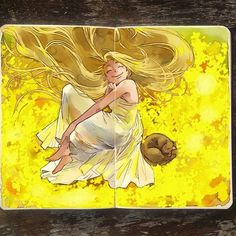 Slumber Throwback from last year's yellow month! #art #throwback #throwbackthursday #yellow #doodle #sketchbook #moleskine #drawing #illustration #rapunzel #tangled #disney Almost had no time to draw today guys! I'll probably still upload something new later on! :-)