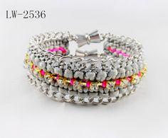New Neon color braided golden chain cotton bracelet friendship link The magnet buckle bracelet for mens  LW-2536