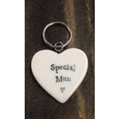 Porcelain Heart Best Mum Key Ring
