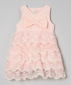 Another great find on #zulily! Pink Tiered Lace Bow A-Line Dress - Toddler & Girls #zulilyfinds