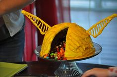 Golden Snitch Cake filled with Jelly Beans...I mean Bertie Bott's Every Flavor Beans