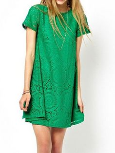 2017 Summer Women Lace Dress,Black/White/Red/Green Round Neck Short Sleeve Lace Casual Party Dresses,Female Hollow out Vestidos Shift Dresses, Green Lace, Green Dress, Red Green, Pretty Green, Dress Black, Bright Green, White Lace, White Dress