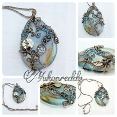 This, the 5th in the clockwork dragon's egg series, is made with a blue egg shaped dragon vein agate with ornate clockwork wire work using antique watch and clock parts with sterling silver and brass wire. I aged and hand polished it, and hung it on an antique sterling silver chain.