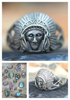 Indian Chief Ring Sterling Silver Vintage – Yourgreatfinds