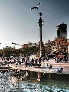 Port Vell and Colon Statue, Barcelona, Catalonia, Spain  //  by Traveling Milers