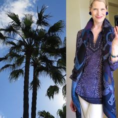 Hermes cashmere shawl and MaiTai Collection earrings.