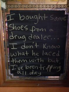 Buying shoes from a drug dealer...