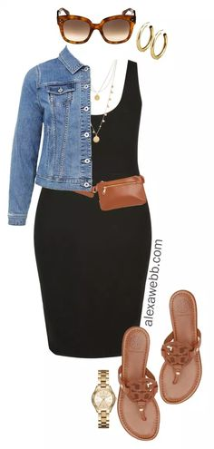 Plus Size Black Bodycon Dress Outfit Ideas - Denim Jacket, Plus Size Belt Bag, Coin Necklace, Sandals - alexawebb.com #plussize #alexawebb Alexa Webb