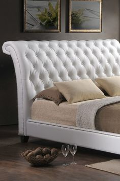 Jazmin Tufted Modern Bed with Upholstered Headboard - White - King Size by Wholesale Interiors on @HauteLook