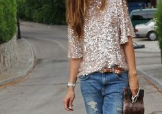 love a dressed up sequin t + casual denim