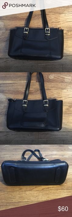 "Ralph Lauren Black Leather Tote Bag Buckled Straps This 14"" long 3360f07d92b8d"