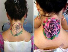 Here's another example that proves you don't need the darker colors to hide an old tattoo. However the old one is faded by time so it's rather much easier to do the new one.