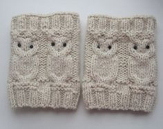 So Cute!  100% wool alpaca - Owl Cable Ivory Knit Boot Socks - Hand Knitted Boot cuffs - Leg Warmers - Boot Toppers - Ready To Ship $14.99