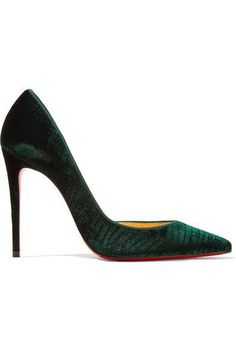 Heel measures approximately 100mm#x2F; 4 inches Emerald croc-effect velvet Slip on Made in Italy