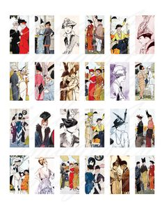 Vintage Paris Fashion printable download images 1x2 by images4you