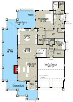 Plan W18270BE: Gorgeous Shingle-Style Home Plan -  Floor 1