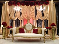 Red and Black Wedding Stage, Hollywood Glam, gold sequin and red roses.