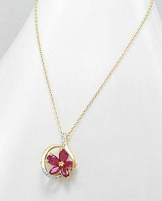 14K Ruby Flower Cz Circle Pendant Necklace